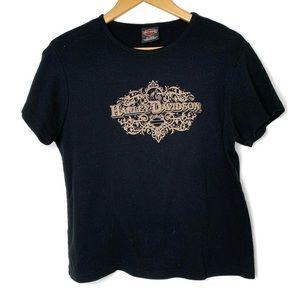 Harley Davidson Black Tan Logo Short Sleeve Shirt